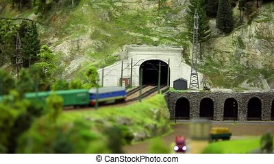 Railway tunnel in the mountains - Freight train in Railway...