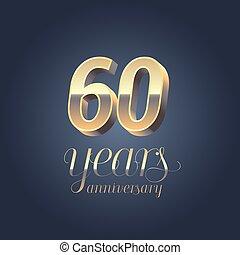 60th anniversary vector icon, logo. Gold color graphic...