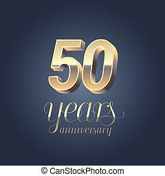 50th anniversary vector icon, logo. Gold color graphic...