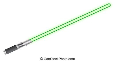 Light Sword Green - A light beam sword isolated on a white...