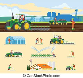 Colorful Farming Concept - Colorful farming concept with...