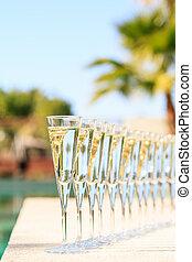 albergo, molti, Ricorso, lusso, prosecco, champagne, festa,...
