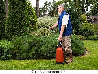 Senior man florist working in the garden