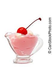 ice cream with a cherry