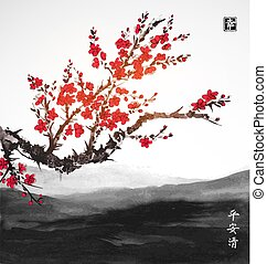 Oriental sakura cherry tree in blossom and landscape with far mountains. Traditional oriental ink painting sumi-e, u-sin, go-hua. Contains hieroglyphs - peace, tranquility, clarity