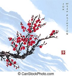 Oriental red sakura cherry tree in blossom and blue sky. Traditional oriental ink painting sumi-e, u-sin, go-hua.