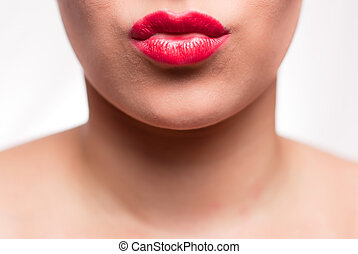 red kissing mouth - mouth with red lips kissing