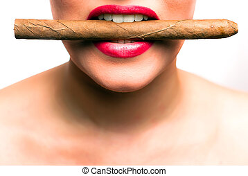 mouth with red lips biting in a cigar
