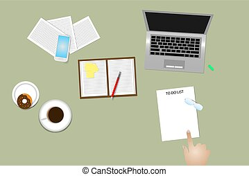 Time management method To Do List using - Office desk top...