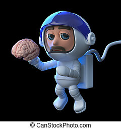 3d Funny cartoon astronaut floats in space holding a human...