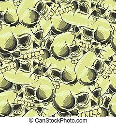 Old Retro Human Skull Seamless Pattern - Old Retro Human...