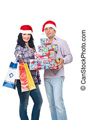 Happy couple with Christmas presents
