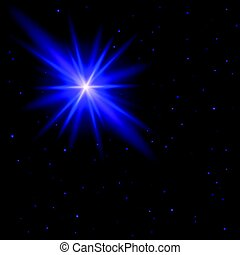 Beautiful abstract background. The night sky with many small stars and one big star flash with glowing blue and purple rays. Vector wallpaper
