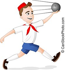 A scout boy running with model of satellite sputnik on...
