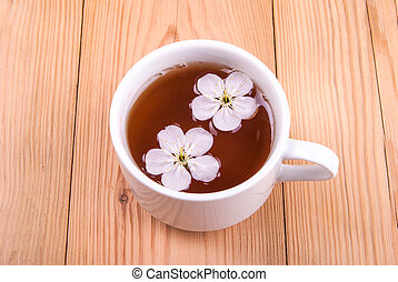 A cup of tea with flowers .