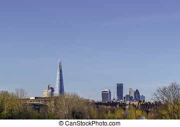 Skyline of London from Burgess Park - Skyscrapers shaping...
