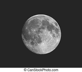 Full moon seen with telescope, faded vintage look - Full...
