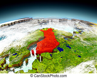 Finland on model of Earth - Finland in red on model of...