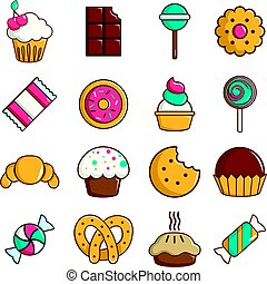 Sweets candy cakes icons set, cartoon style - Sweets candy...