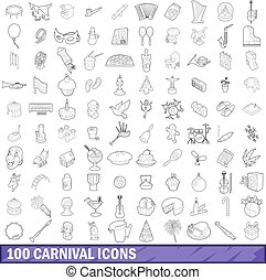 100 carnival icons set, outline style - 100 carnival icons...