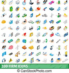 100 firm icons set, isometric 3d style - 100 firm icons set...