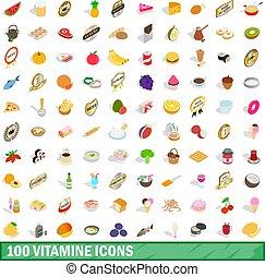 100 vitamine icons set, isometric 3d style - 100 vitamine...