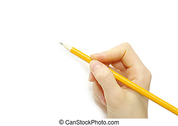 pencil in hand -  Hand with pencil isolated on white