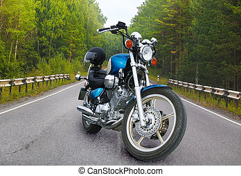 Motorbike on forest road - Motorbike on country forest road