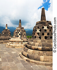 Borobudur - Stupas at Borobudur temple. Central Java....