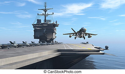 Aircraft carrier - 3D CG rendering of the aircraft carrier.