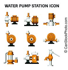 Water Pump Station - Vector icon of electric water pump and...