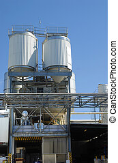 Modern factory industrial plant, loading bay and storage...