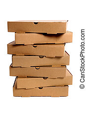 Stack of brown pizza boxes