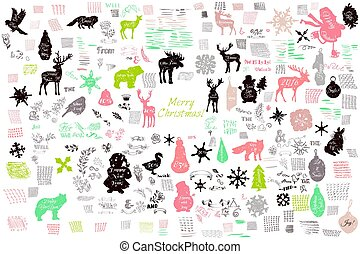 Christmas mega collection of vector elements, shapes,...