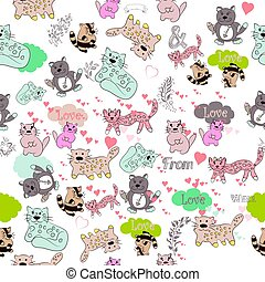 Funny vector wallpaper pattern with cute colorful cats in...