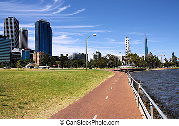 Perth, Australia - Perth, Western Australia. Bicycle route...