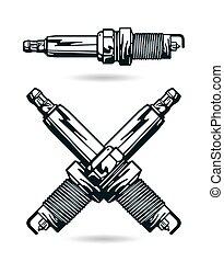Illustration of spark-plug. Isolated on white background