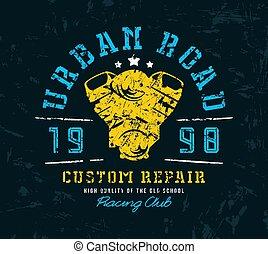 Motorbike repair emblem for t-shirt