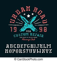 Stencil-plate serif font and graphic design for t-shirt....