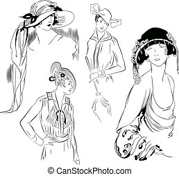 Pretty girls in ancient hat. Vector template. - Vector...