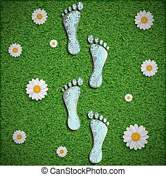 Footprint with a chip on the surface of the grass. Vector...