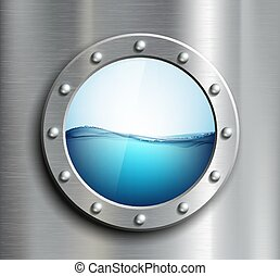 Round window on the ship. Vector image.