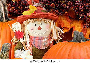 Pumpkin Man - Decorative Scarecrow Surrounded By Pumpkins To...