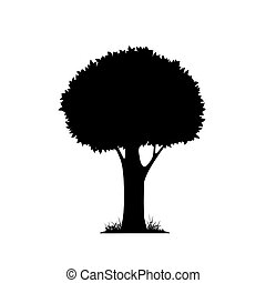 silhouette of a tree isolated on white background. Vector...
