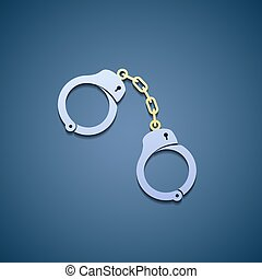 Icon handcuffs. Flat graphic. - Icon handcuffs in style Flat...