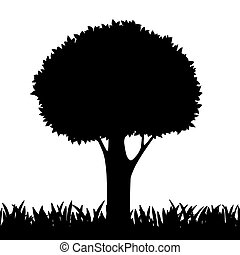 silhouette of a tree and grass. Vector image.