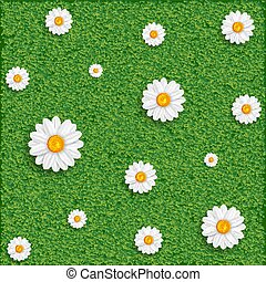 grass and flowers.