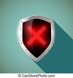 Red Cross. Stock illustration. - Red Cross on a metal...