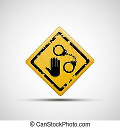 Sign handcuffs and palm. Vector image. On a white background