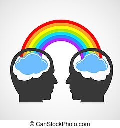 Silhouette of a man's head with a rainbow and clouds....
